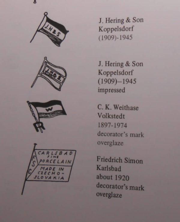Карлсбад некоторый марки фарфора
