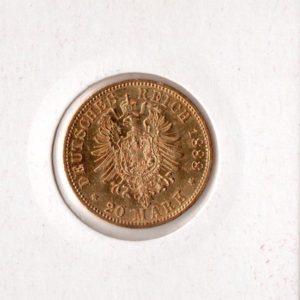 20 Марок 1888 год Рейх Германии