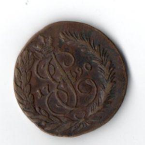 2 Копейки 1790 год ЕМ Аверс