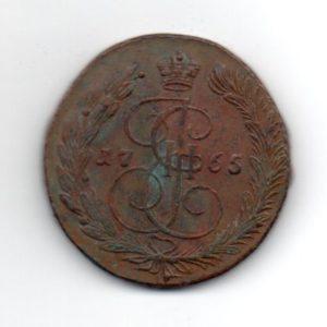 Пятак 1765 года ЕМ сетка