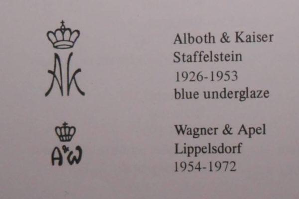 Марки фарфора Alboth & Kaiser
