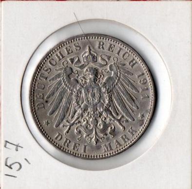 3 Марки 1911 год Гамбург Серебро