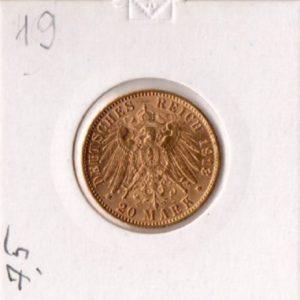 20 марок 1913 год Гамбург Рейх